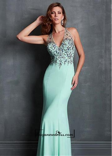 Mariage - Alluring Chiffon & Tulle Halter Neckline Sheath Evening Dress With Train