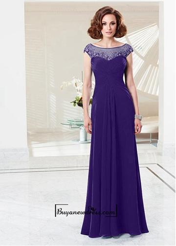 Wedding - Alluring Chiffon & Tulle Jewel Neckline A-line Evening Dress With Train