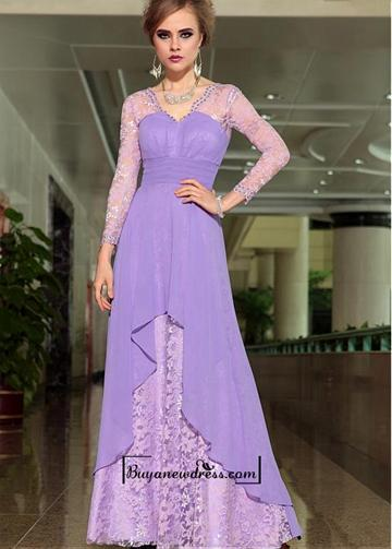Wedding - Alluring Composite Silk & Lace V-neck Floor-length A-line Formal Dress