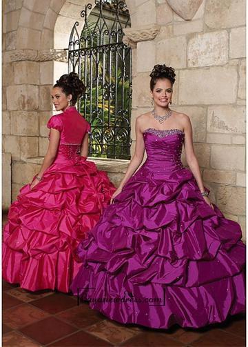 Boda - Alluring Taffeta Strapless Neckline Floor-length Ball Gown Prom Dress