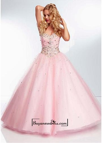 Свадьба - Alluring Tulle Sweetheart Neckline Floor-length Ball Gown Prom Dress
