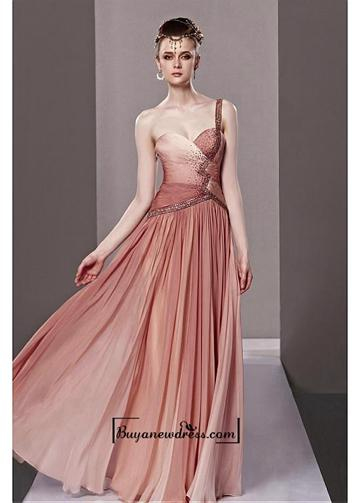Boda - Amazing A Line One Shoulder Asymmetrical Waist Long Beaded Ruched Evening Dress