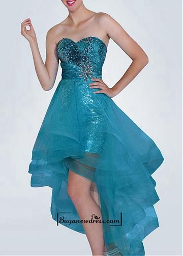 Wedding - Amazing Sequin Lace & Charmeuse & Tulle A-line Strapless Sweetheart Neckline Hight-low Prom Dress