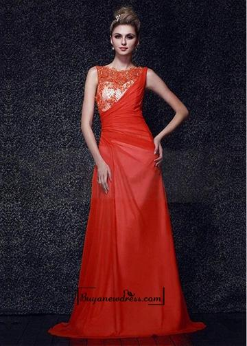 Wedding - Amazing Silk Like Chiffon & Satin A-line Bateau Neckline Raised Waistline Floor-length Prom Dress