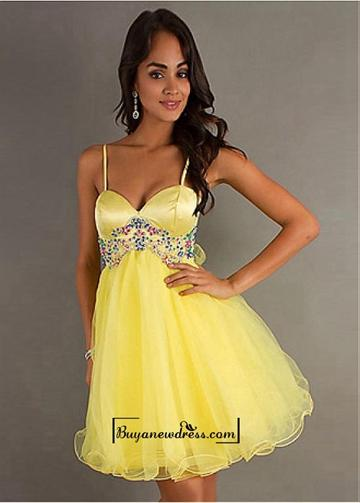 Wedding - Adorable Organza & Stretch Satin A-line Spaghetti Straps Empire Waist Homecoming Dress