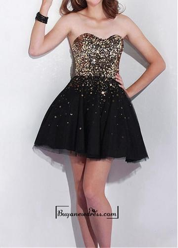 Wedding - Adorable Sequin Lace & Tulle & Satin A-line Strapless Sweetheawrt Neckline Cocktail Length Prom Dress