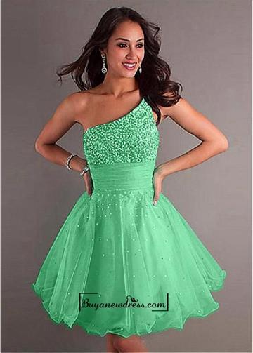 Wedding - Adorable Stylish Tulle & Stretch Satin A-line One Shoulder Neckline Raised Waistline Homecoming Dress