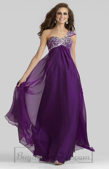 Wedding - Chiffon Sleeveless One Shoulder Long Zipper A-line Prom Dress