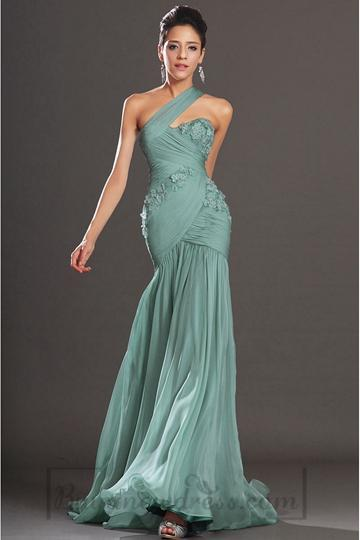 Свадьба - Trumpet Chiffon Empire Sleeveless One Shoulder Long Prom Dress