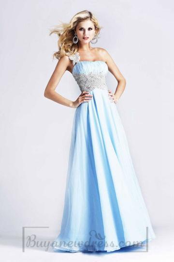 Wedding - A-line Zipper Empire Chiffon Appliques Long One Shoulder Prom Dress