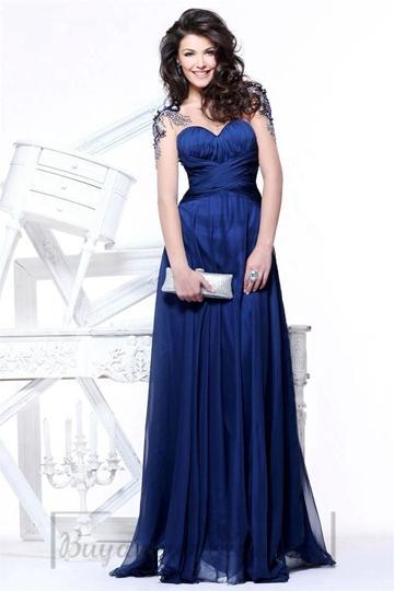Wedding - Sweetheart Empire Chiffon Long Keyhole Back A-line Short Sleeve Prom Dress