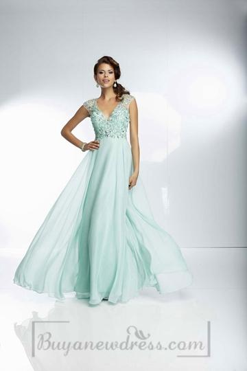 Mariage - Sleeveless Long Backless V-neck Chiffon Natural Waist A-line Prom Dress