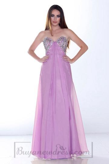 Mariage - A-line Long Chiffon Empire Sweetheart Pleated Chic & Modern Prom Dress