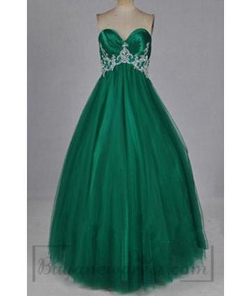 Wedding - Green Sweetheart Handmade Tulle Floor Length Prom Dress