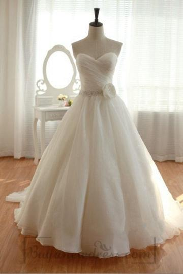 زفاف - Chiffon Sweetheart Elegant Long White Wedding Dress