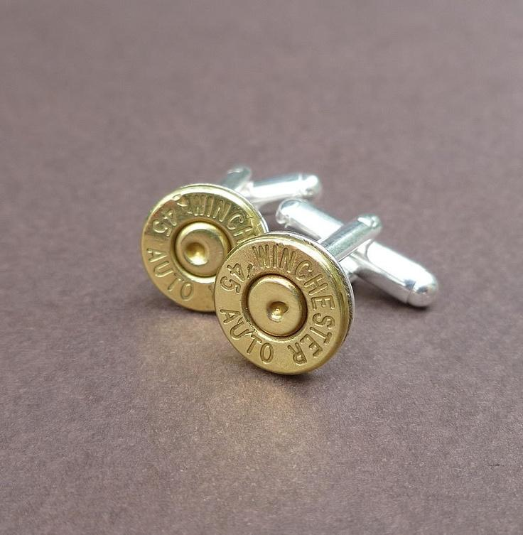 Свадьба - 45 Caliber Automatic Winchester Bullet Cuff Links Gift For Him Groomsmen Gift