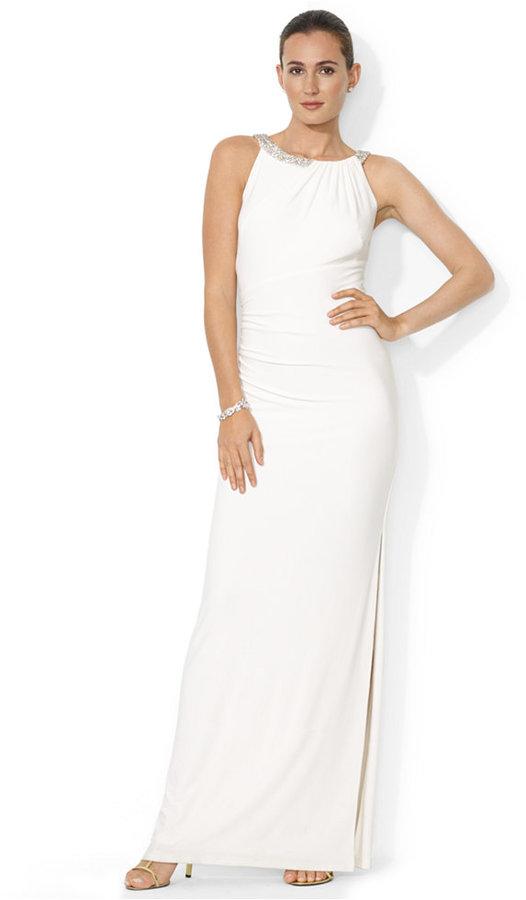 Lauren Ralph Lauren Sleeveless Beaded Ruched Gown #2194387 - Weddbook