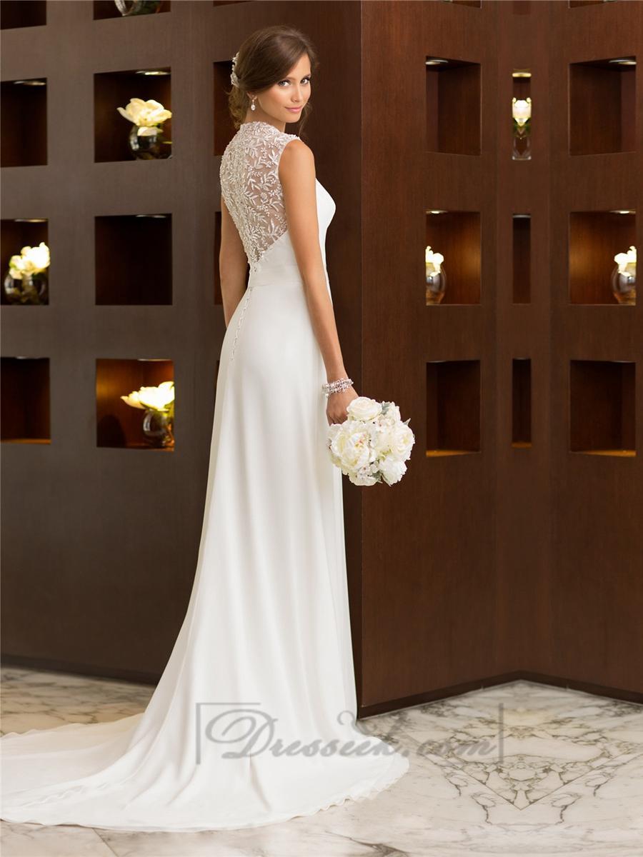 Elegant cap sleeves chiffon sheath simple wedding dresses for Sheath wedding dress with cap sleeves