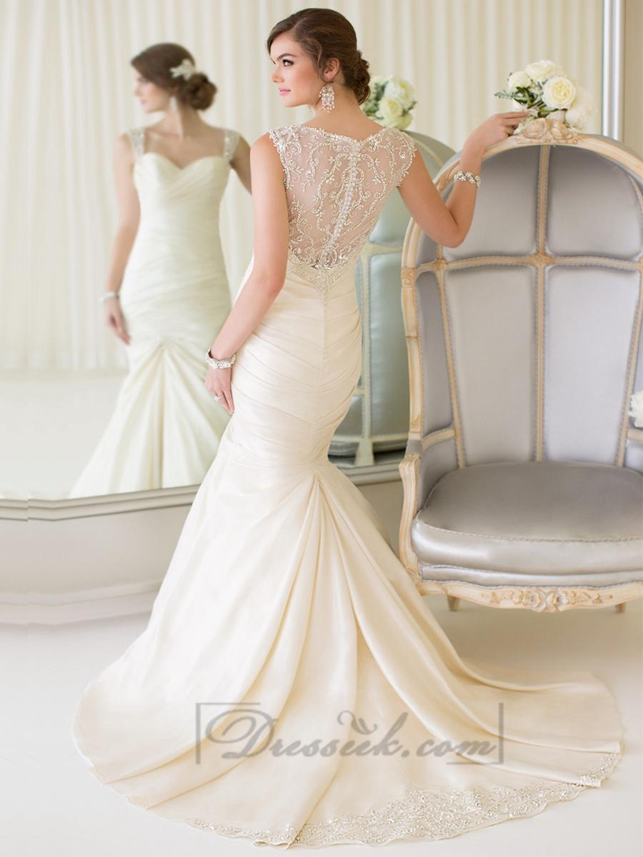 Hochzeit - Luxury Beaded Straps Fit and Flare Sweetheart Wedding Dresses with Illusion Back