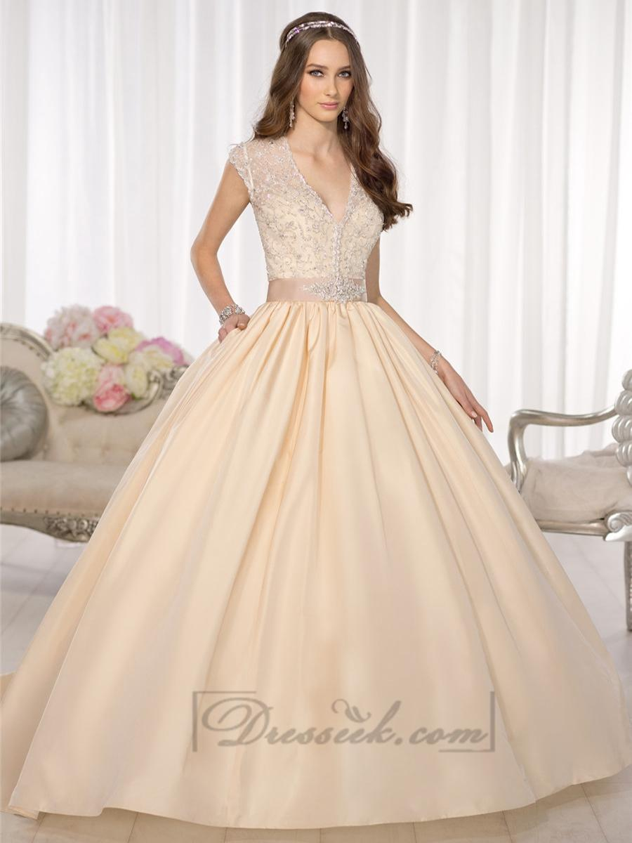 Elegant Cap Sleeves V-neck Princess Ball Gown Wedding Dresses With ...
