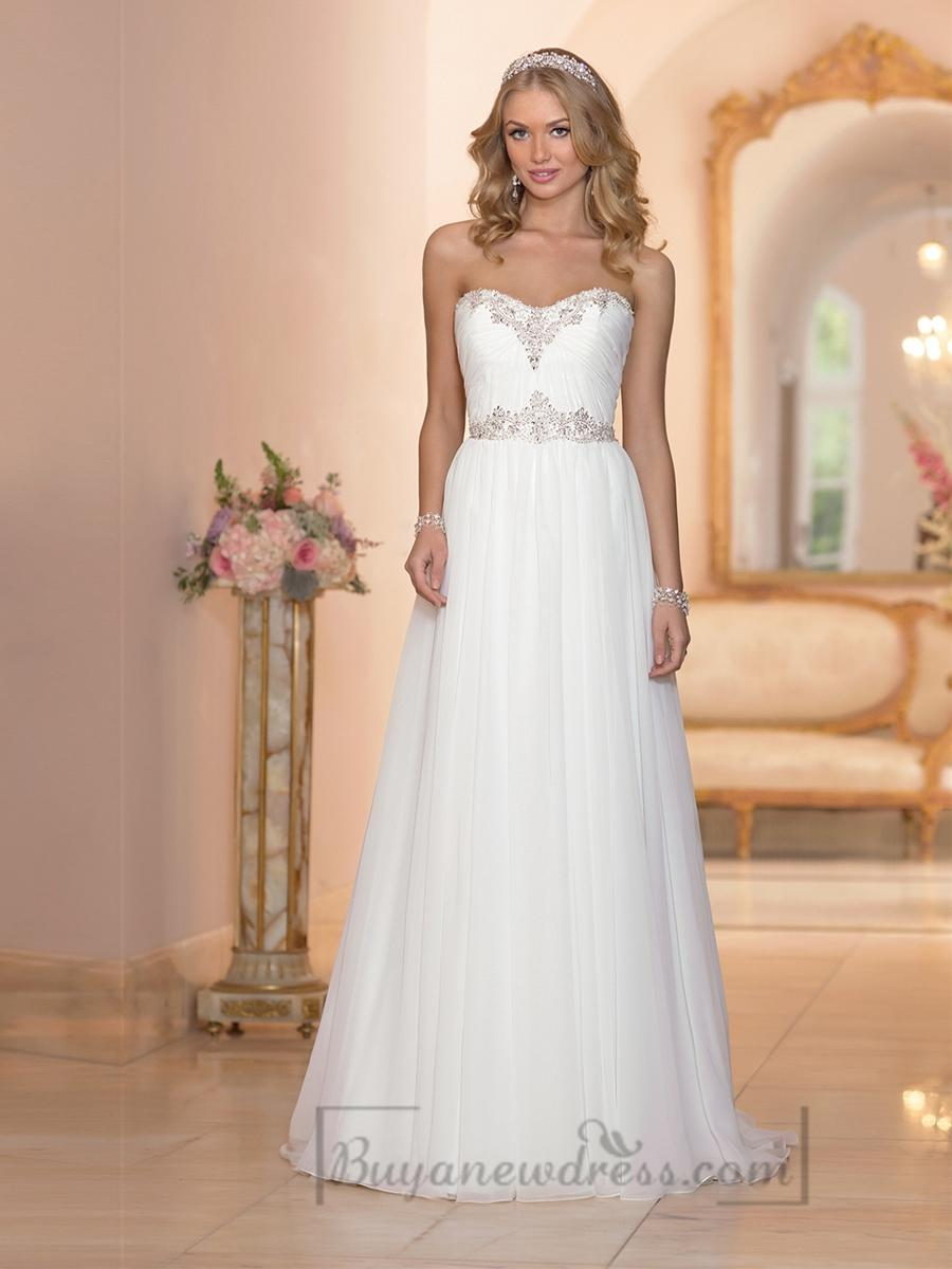 Wedding - Sheath Beaded Sweetheart Ruched Bodice Simple Wedding Dresses with Beaded Belt