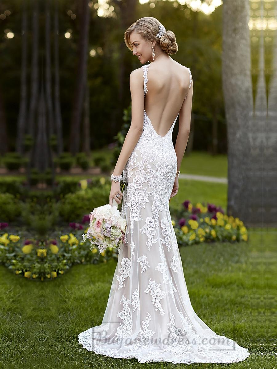 Elegant Straps Sheath Lace Over Wedding Dress With Low
