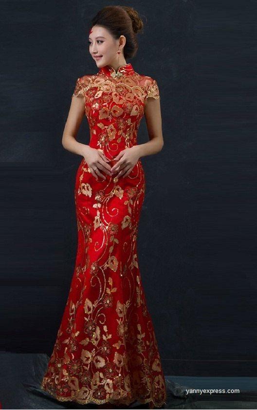 Chinese Wedding Fishtail Gown Cheongsam Bridal Evening Banquet Dress