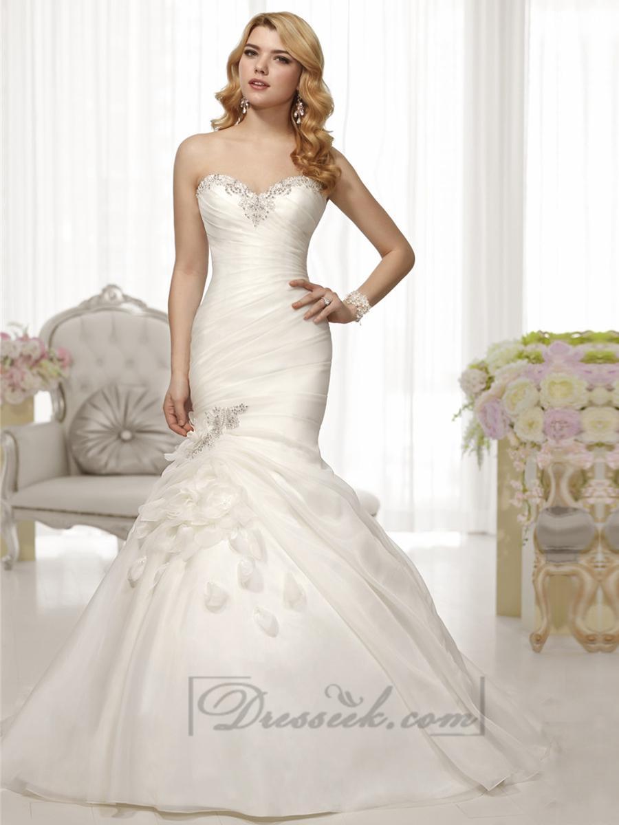 Trumpet mermaid beaded sweetheart pleated bodice wedding for Beaded trumpet wedding dress