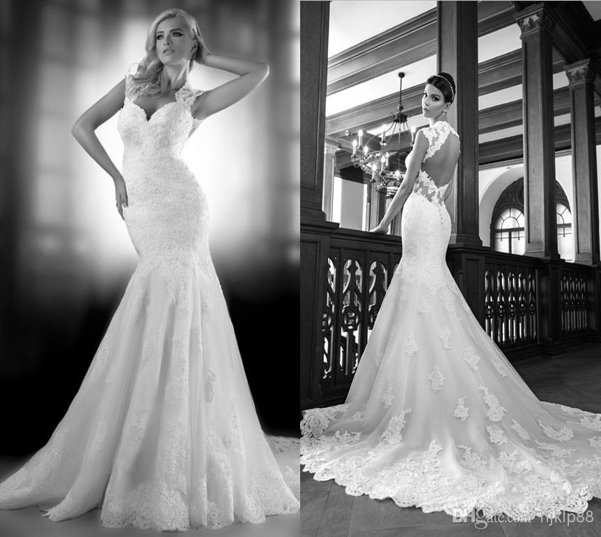 Boda - Cheap Bride Dress - Discount Tulle Lace Mermaid Wedding Dresses Applique Backless Wedding Online with $117.07/Piece