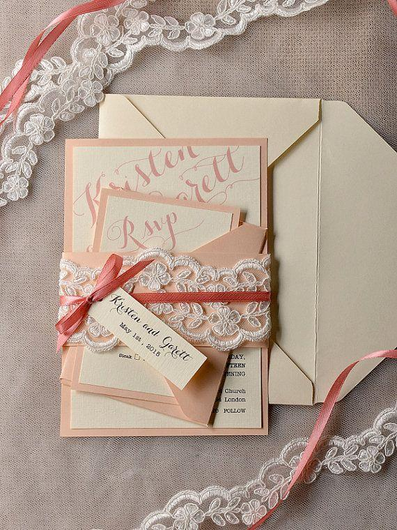 Coral And Peach Wedding Invitation Veil Lace Wedding Invitations – Lace for Wedding Invitations