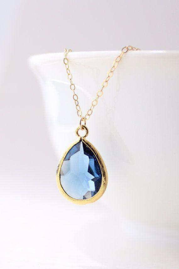 Navy Blue Gold Teardrop Necklace Navy Bridesmaid Necklace
