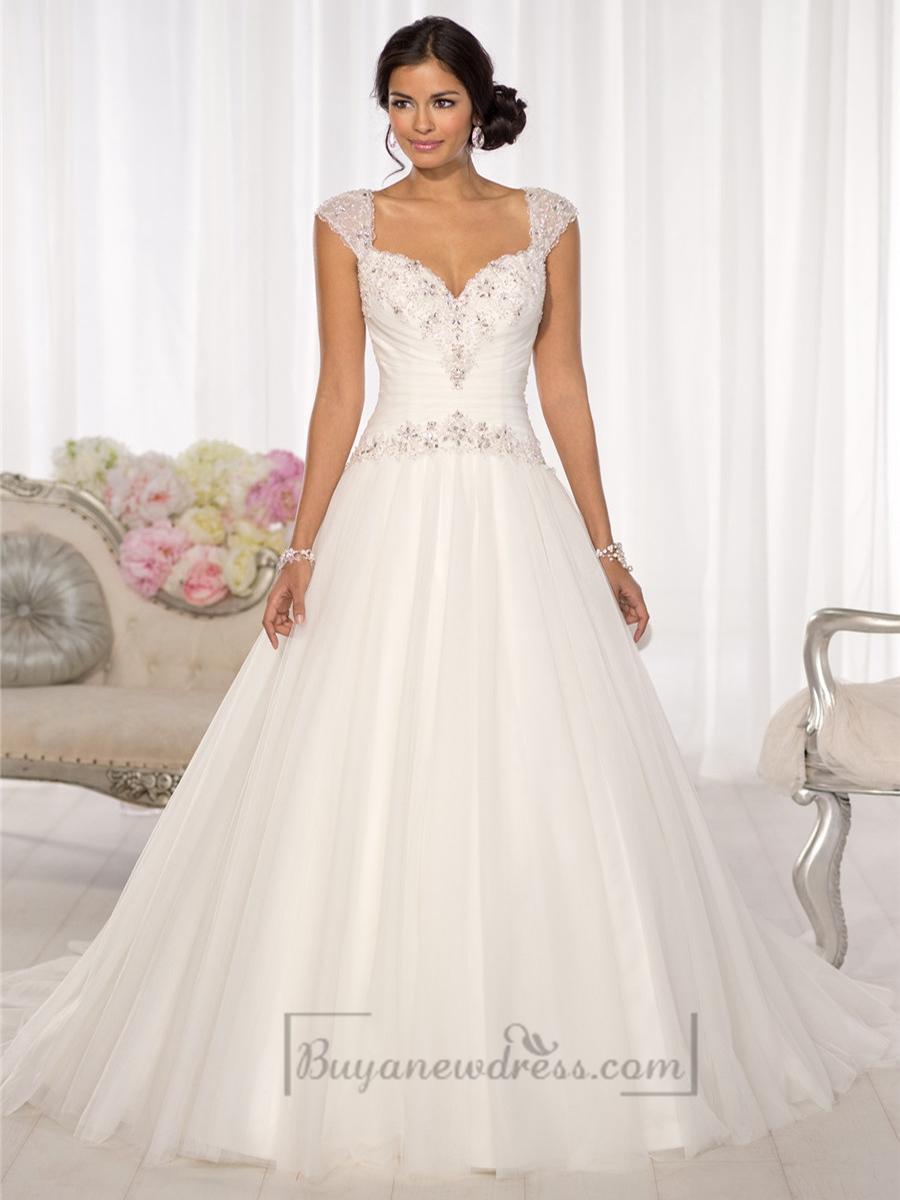 Wedding - Beaded Cap Sleeves Sweetheart A-line Keyhole Back Wedding Dresses