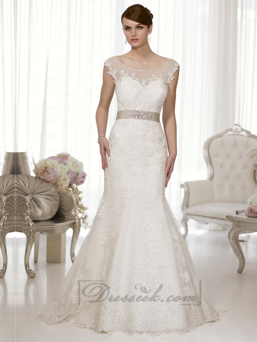 Cap Sleeves Fit And Flare Illusion Boat Neckline Back Wedding Dress 21