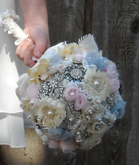 Свадьба - Custom Brooch Bouquet Vintage French Country Romantic Shabby Chic Wedding Bride Or Bridesmaid