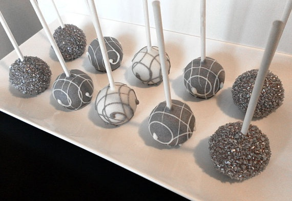 Cake Pops - Elegant Cake Pops In Grey, Silver And White For Birthday ...