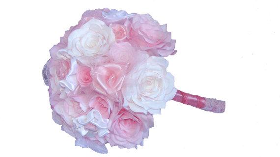 Свадьба - Pink Bouquet, Lace Bridal bouquet, Romantic bouquet, Satin Wedding bouquet, Brooch bouquet, Paper Bouquet, Vintage bouquet, Fake bouquet