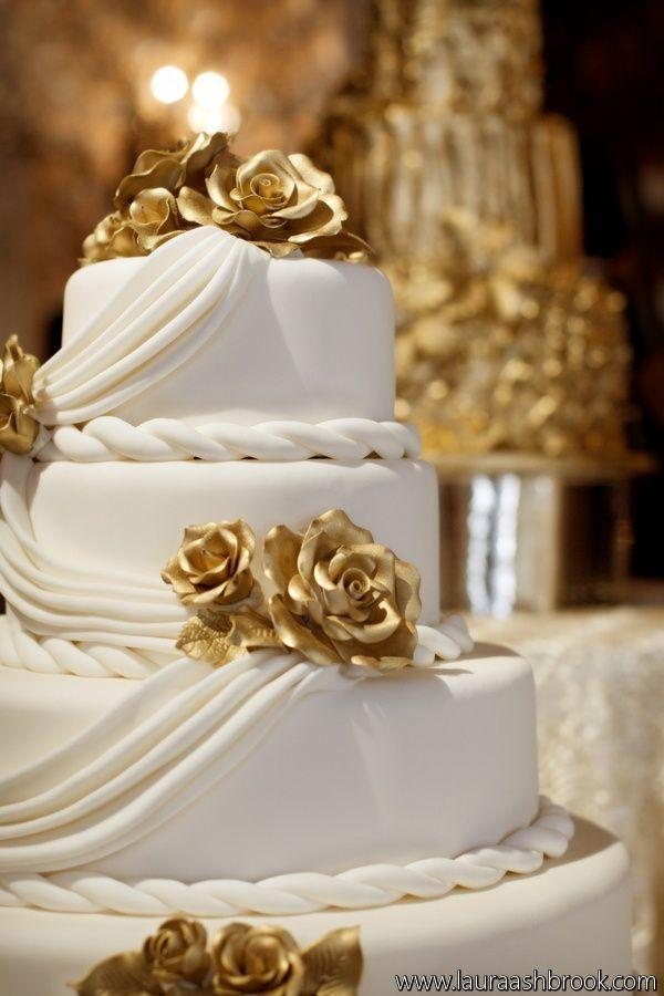 Gold Wedding , White \u0026 Gold Wedding Cakes 2195342 , Weddbook