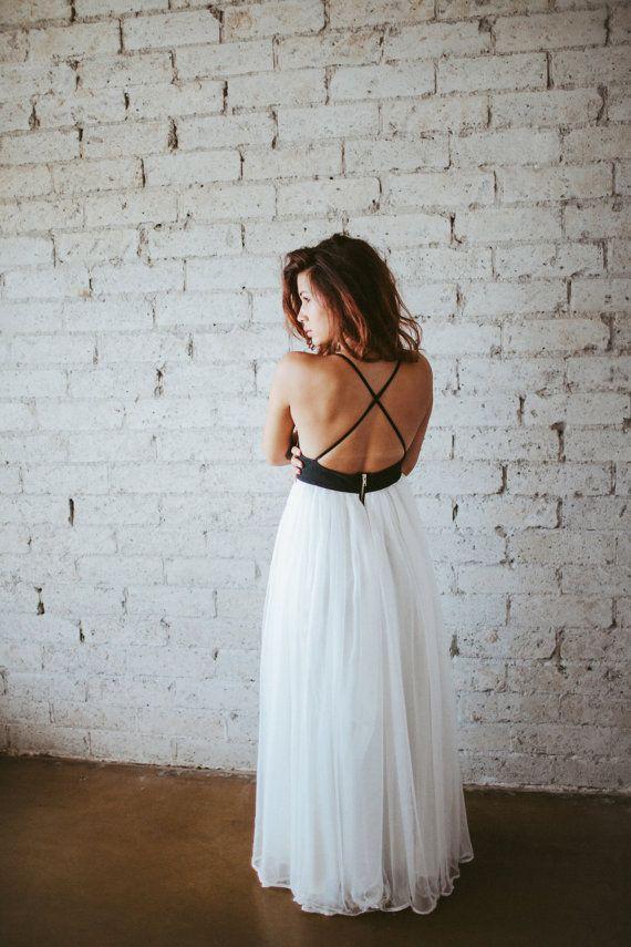 Hochzeit - Bohemian Leather And Silk Gauze Floor Length Gown - Phoenix By Ouma