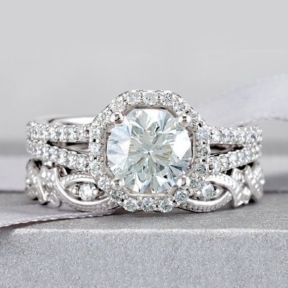 Mariage - 2.25 CTW Brilliant Round Cut Split Shank Halo Accented Wedding Ring Set With Sculptural Eternity Band In SOLID 14K Gold