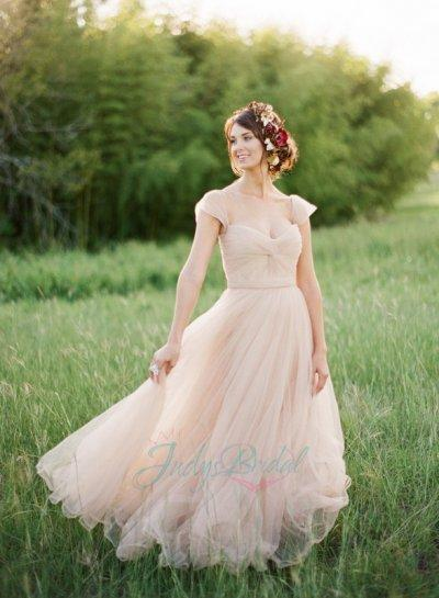 d4a151c62070 JOL240 Blush Pink Colored Cap Sleeves Flowy Tulle Wedding Dress ...