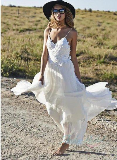 media sexy backless flowy chiffon boho beach wedding dresses