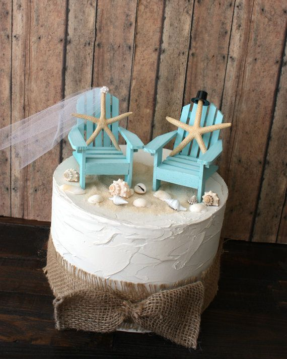 Something Blue Beach Wedding Cake Topper Miniature Adirondack Chairs