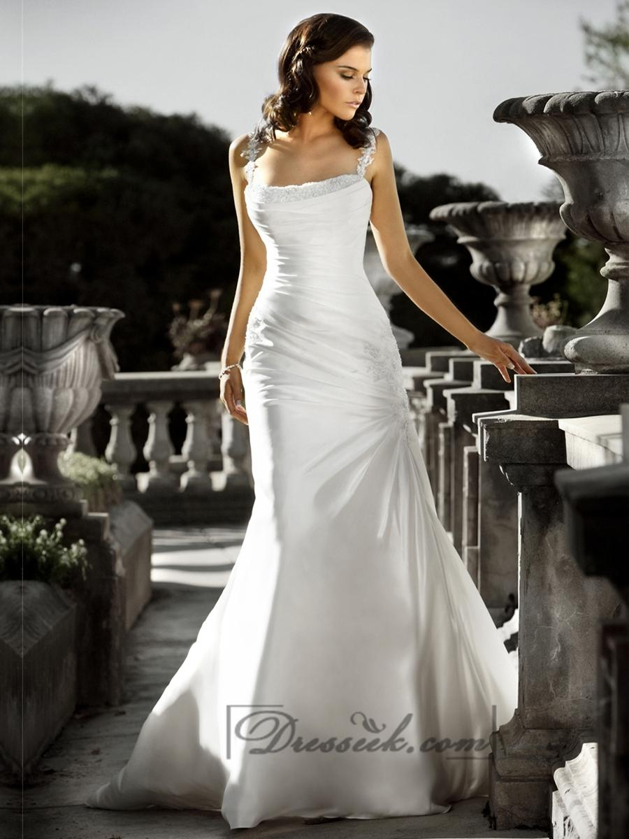 Beaded spaghetti staps ruched bodice square neckline for What is ruching on a wedding dress