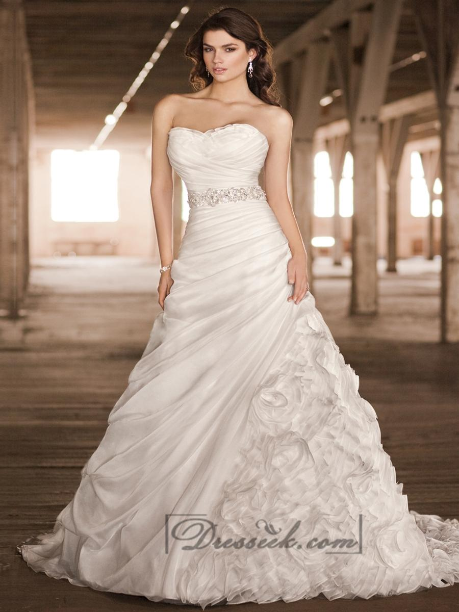 Wedding - Unique Organza Sweetheart Roched Bodice A-line Wedding Dresses