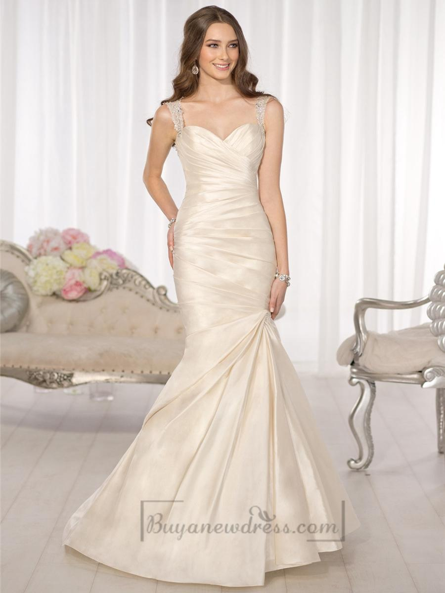 Wedding - Luxury Beaded Straps Fit and Flare Sweetheart Wedding Dresses with Illusion Back