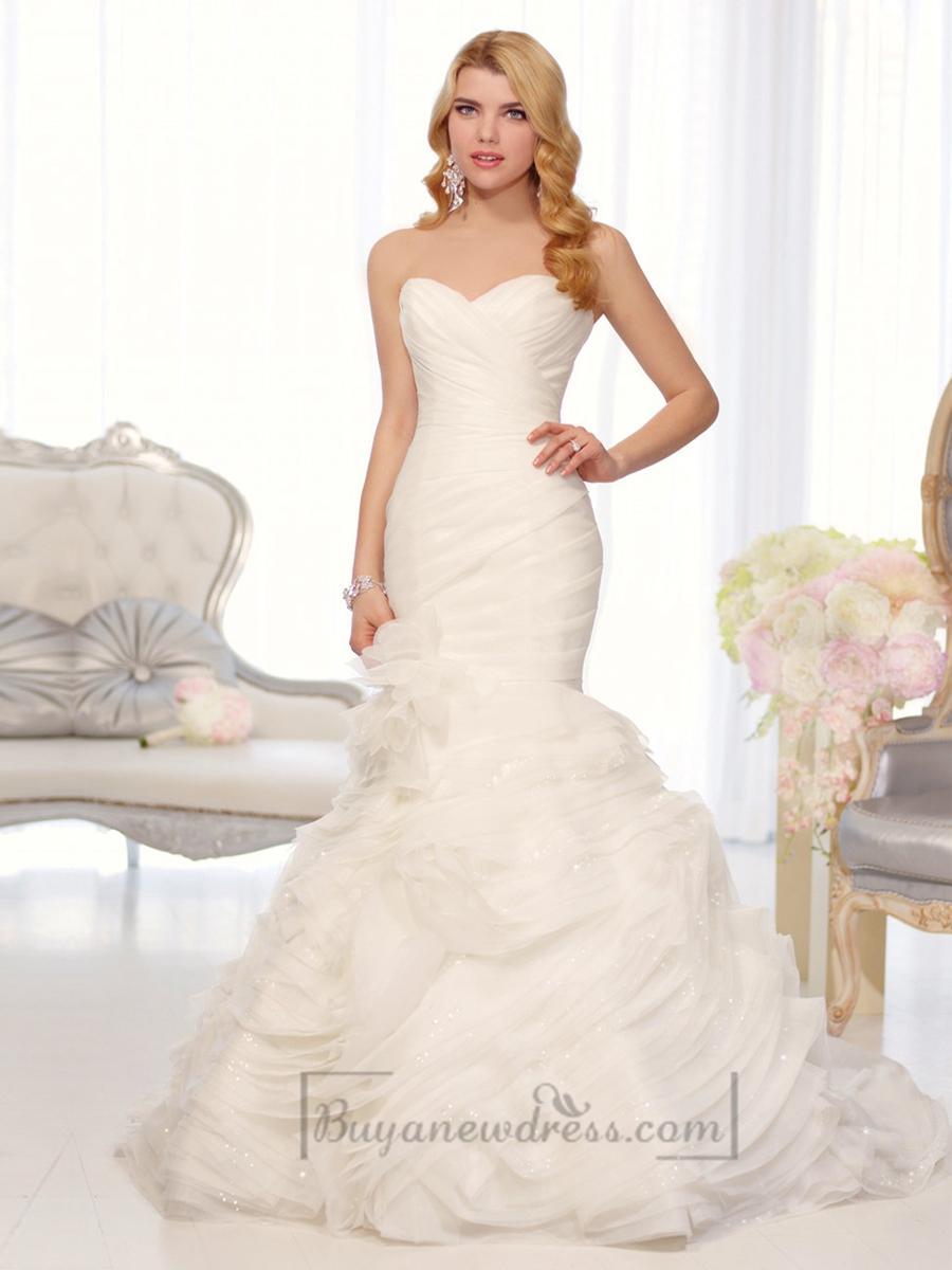 Organza sweetheart trumpet wedding dresses with pleated for Tulle trumpet wedding dress