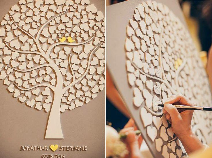 Custom Wedding Guest Book Alternative Tree Wood Rustic Of Hearts Cutie Pop 110