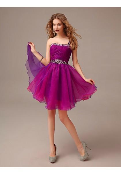 Свадьба - One Shoulder Knee Length Sleeveless A Line Cocktail Dress