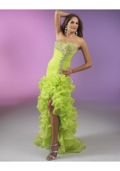 Свадьба - Sleeveless Green Sweetheart High Low A Line Homecoming Cocktail Dress