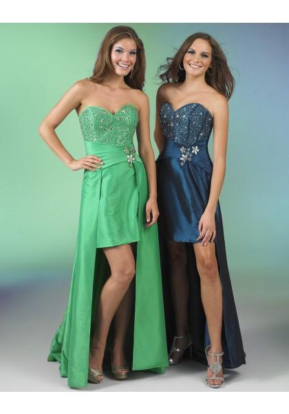 Mariage - Sleeveless Green Sweetheart High Low Sheath Column Homecoming Cocktail Dress